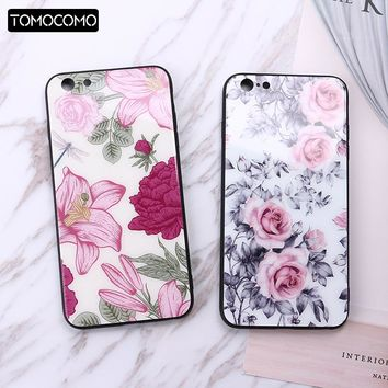 TOMOCOMO Flower Leaves Cactus Pattern Cases for IPhone 6 6s 7 Plus Shockproof Glass Cover for Iphone 8 8Plus X Phone Case