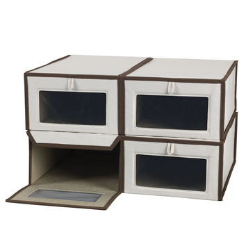 Household Essentials Set of Four Large Shoe Storage Boxes
