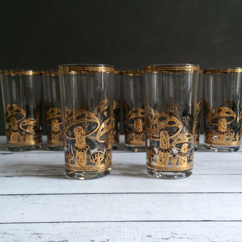 Culver Ltd Gold Mushroom Glasses/ Set of 8 1960's Culver Mushroom High Ball Bar Glasses/ Mid Century Gold Mushroom High Ball Glasses