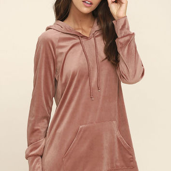 Melrose Blush Pink Velour Hooded Sweater Dress