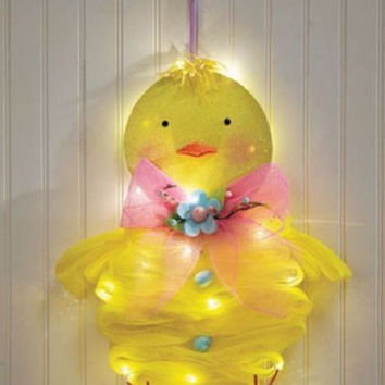 Easter Spring Door Decor Lighted Wreath Chick Peep Geo Mesh Indoor Outdoor NEW