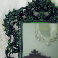 Gothic Wall Mirror - Black and Green Mirror - Black Lacquer Mirror - Large Ornate Mirror - Victorian Mirror - Ornate Mirror - Gothic Décor