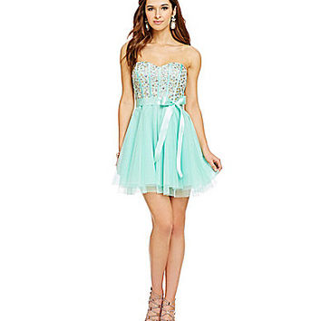 Teeze Me AB Stone Embellished Corset Party Dress