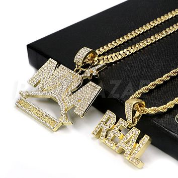 Iced out NBA (NEVER BROKE AGAIN) / REAL Pendant W/ Cuban and Rope Chain Set