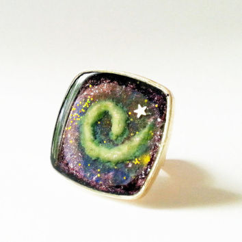 Galaxy Ring, Galaxy Art Ring, Spiral Galaxy Ring, Spiral Ring, Glow in the Dark Space Ring, Space Jewelry, Celestial Jewelry, Glow Jewelry