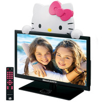 """Hello Kitty 19"""" LED TV Monitor and Stand. Gloss Black"""