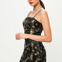 Missguided - Black Silky Brocade Square Neck Bodycon Dress