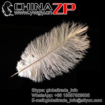 CHINAZP 100pcs/lot Natural White Ostrich Feather 14-16 inch for Wedding Centerpiece Party Costume Mask