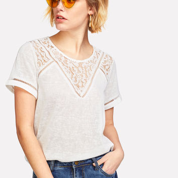 Lace Insert Short Sleeve T-shirt | MakeMeChic.COM