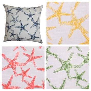16x16 Starfish Print Decorative Pillow Cover - Same Fabric Both Sides