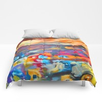 My Village | Colorful Small Mountainy Village Comforters by Azima