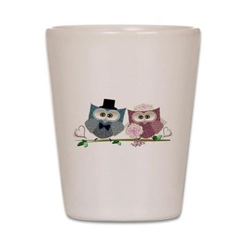 WEDDING OWLS ART SHOT GLASS