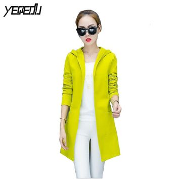 #4017 2017 Spring Neon green Casual Long trench coat Good quality Windbreaker Slim Cardigan Thin With hooded Female overcoat