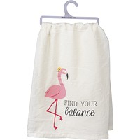Find Your Balance Dish Towel With Pink Flamingo Design