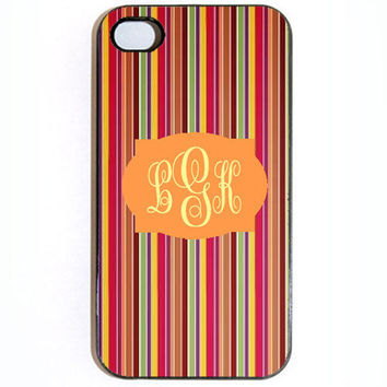 iPhone 4 4s Colorful Stripes Monogram Hard Snap on by KustomCases