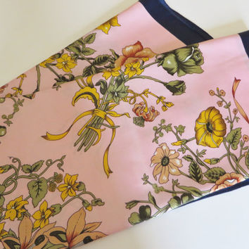 Vintage 1990's pink floral scarf with navy border