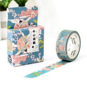 JA209  Flying Crane in The Cloud Decorative Washi Tape DIY Scrapbooking Masking Tape School Office Supply Escolar Papelaria