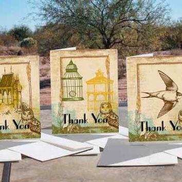 Wild Brown Birds Art - - 30 Thank You Note Cards + Envelopes, Photo Matte Finish,5 cards per designed card