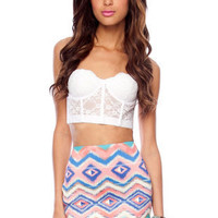 Rubber Banded Skirt in Multi :: tobi
