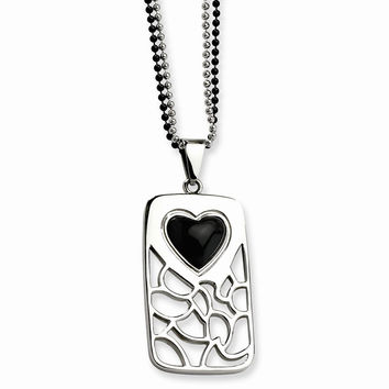 Stainles Steel Black Onyx Heart Pierced Dog Tag 28in Double Chain Necklace