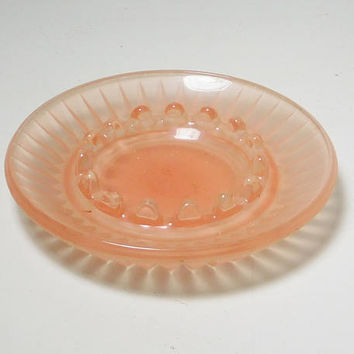 Pink Depression Glass Ashtray Jewelry Trinket Tray Vintage Farmhouse Cottage Style Decor No chips or cracks