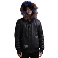 Men Cotton Jackets with Fur Coats Jaqueta Masculina Men's Casual Slim Fit Padded Hooded Veste Homme Jackets BL