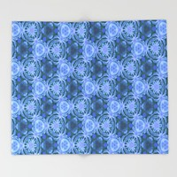 Green and blue flowery pattern Throw Blanket by Scott Hervieux