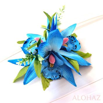 Blue Orchid Burst Hawaiian Flower Hair Clip