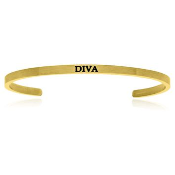 Yellow Stainless Steel Diva Cuff Bracelet