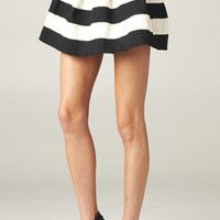 STRIPED BANDAGE SKATER SKIRT