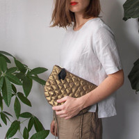Metallic Linen Quilted Clutch - Gold or Silver