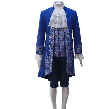 2017 Movie Beauty and the Beast Costume Beast Cosplay Blue Gentleman Outfit Men Halloween Carnival Clothing Custom Made