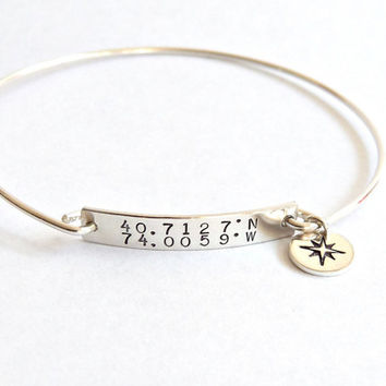 Bridesmaid Gift Custom Coordinates Bangle Bracelet Bar Bracelet Roman Numeral Bracelet Anniversary Jewelry