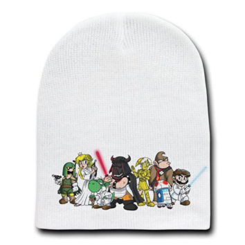 'Plumbing Wars Group' All Characters Video Game Parody - White Adult Beanie Skull Cap Hat