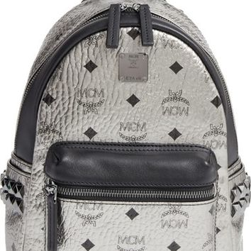 MCM Small Stark Studded Coated Canvas & Leather Backpack | Nordstrom