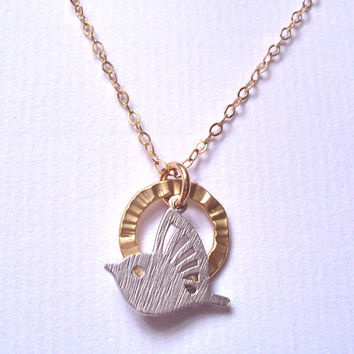 Hummingbird necklace - gold filled chain - hummingbird charm - gold ring