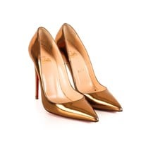 Louboutin Gold Stiletto Pumps