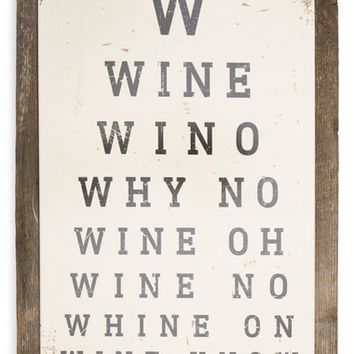 Poncho & Goldstein Wine Eye Chart Sign | Nordstrom