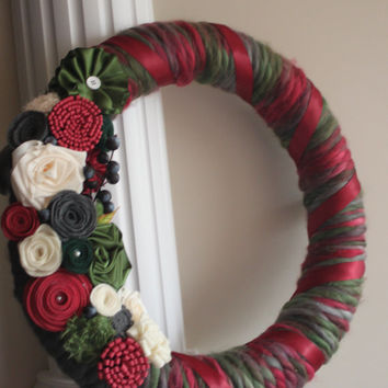 Christmas Wreath, Year Round Wreath, Rose Wreath, Winter Wreath, Christmas decorations, Front Entrance, Front Door, Gift, Hostess gift