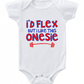 Funny Baby Onesuit I'd Flex but I Like This Onesuit Crossfit Onesuit Cute Baby Boy Clothes Newborn