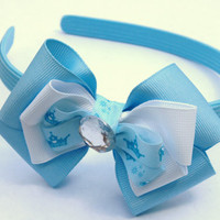 light blue princess headband with bow- fancy hair accessories- girls