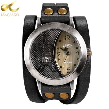 Lancardo Vintage Tower Women & Men Watch High Quality Leather Bracelet Watch Casual WristWatch Punk Style QuartzWatch
