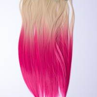 Ombré Blonde > Pink Dip Dyed 7pcs Straight Clip-In Hair Extensions