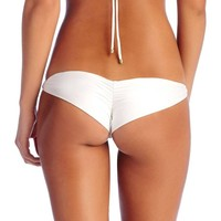Vitamin A ~ Samba Ruched Back Bottom - White EcoLux™
