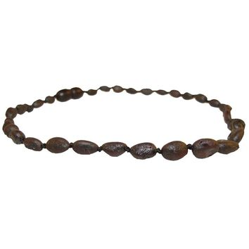 Baltic Amber Teething Necklace In Raw Chestnut Bean