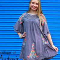 Umgee Gray Dress with Lace and Colorful Embroidery Detail