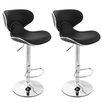 Bareneed Black Modern Bar Stools with Backs (Set of two)