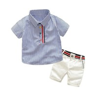 Summer Stripe Shirt + Shorts Set Baby Boy Clothes Trendy