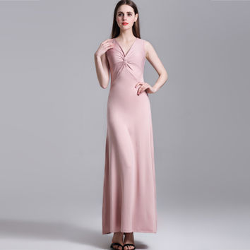 2017 Summer Women's Sexy Solid Twist V Collar Sleeveless Maxi Party Dress Empire Tunic Elegant Long Vestido Femininos