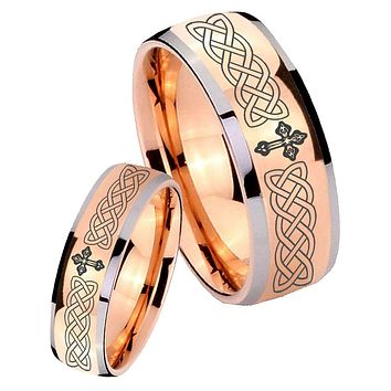 Bride and Groom Celtic Cross Dome Rose Gold Tungsten Mens Ring Engraved Set